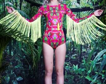 Fringed Lycra Festival Bodysuit with long sleeves