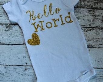 Hello World Onesie-Baby Girl Onesie-New baby-Glittered Onesie