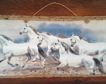 Wild White Horse Herd Corrugated Tin Wall Hanging