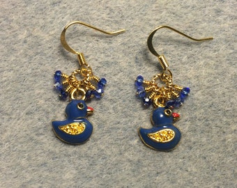 Blue enamel duck charm earrings adorned with tiny dangling blue Chinese crystal beads.