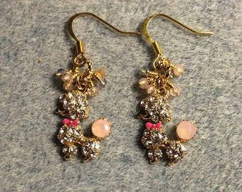 Peach and pink enamel and rhinestone poodle charm earrings adorned with tiny dangling peach and pink Chinese crystal beads.