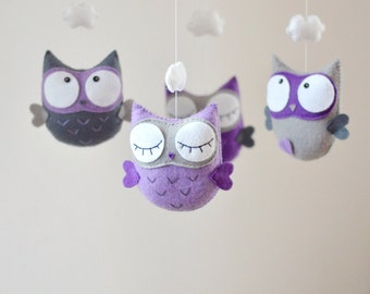 Baby Mobile, Owl Mobile, Custom Mobile, Nursery Decor, Baby Shower Gift Idea, Personalized Baby Mobile, Made to Order, Eco, Wood, Purple