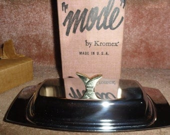 Mid Century Mode By Kromex Chrome Made In USA Model No 481-21 Butter Dish In Its Original Box