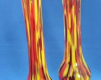 MURANO Style Multi-coloured Spatter Glass Specimen Vases (pair)