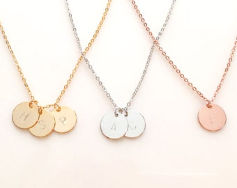 Delicate Disc Initial Necklace, Dainty Necklace, Gold Initial Necklace, Monogram Birthday gift