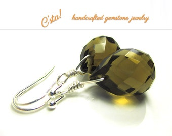 Olive Green Quartz Earrings in Sterling Silver