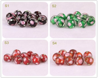 Lamp work 8mm Flower Rose Glass Beads Small Bead Design Charm Bracelet Handmade Beads DIY bracelets Bead Supply