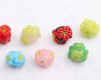 lamp work 14mm 16mm fuji oriental cherry beads flower bead glass beads design charm bracelet handmade