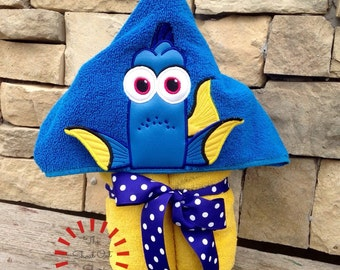 Dory - Finding Dory - Blue Forgetful Fish 3D Hooded Towel - Bath Towel - Beach Towel - Pool Towel - Gift - Birthday Present - Embroidered