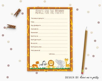 Safari Baby Shower Advice Cards , Jungle Advice For Mommy To Be , Wild Animals Printable Advice , Instant Download
