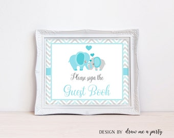 elephant boy baby shower sign guest sign elephant guest book sign please sign