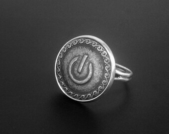 Power Symbol Ring -Geek Ring -Adjustable Personalized Ring -Gift for Her
