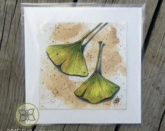 Original Watercolor Ginkgo Leaves - Green/Yellow