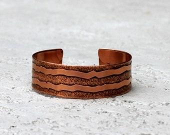 Rustic Cuff Bracelet, Etched Copper Cuff Bracelet, Mens Bracelet, Womens Bracelet