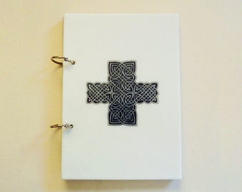 A5 sketchbook with strong fused glass cover, black and white celtic knotwork design and white unlined paper