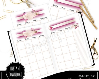 Rose Cream Undated Month on Two Page (MO2P) POCKET SIZE Designed Traveler's Notebook Printable Planner Inserts