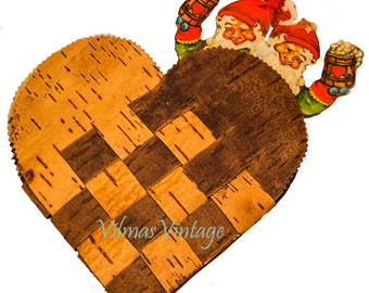 Scandinavian Vintage Heart, Made of Birch Bark, Pocket, Christmas Decor