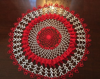 Vintage red and white doily