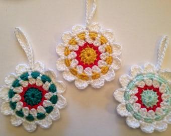 3 Handmade Crochet Granny Circle Christmas Tree decorations/3 Granny Circle Christmas Tree Decorations/ Christmas decoration/ crochet decor