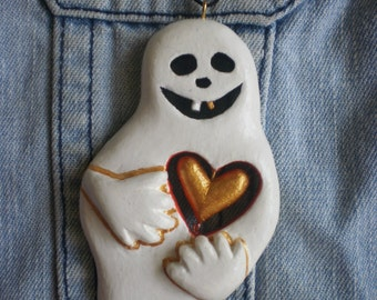 Ghost Necklace Ghost jewelry Art Ghost Pendant Halloween Hand carved painted OOAK Original painting on wood Valentine's Day Wooden pendant