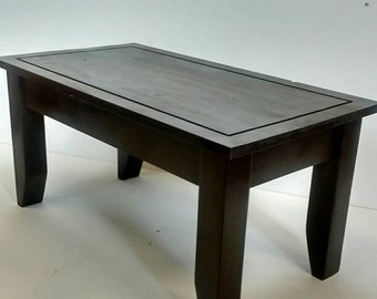 Solid pine stylish coffee table with dark finish