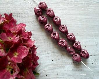 perline ceramica bordeaux - perline ceramica per collana - perline per bracciale - perline ceramica handmade - perline - autunno - handmade