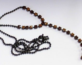 1pcs--Necklace With Two Colors Stones, Rhinestones (B51-14)