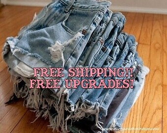 High Waisted Shorts DISTRESSED, Dirty Daisy Denim Shorts For Summer, All Sizes FREE SHIP