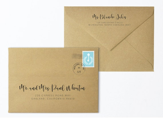 printable custom return address envelope digital file and. Black Bedroom Furniture Sets. Home Design Ideas