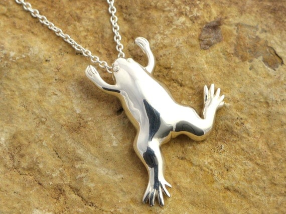 Xenopus African Clawed Frog Pendant-Science Jewelry in bronze, brass & silver
