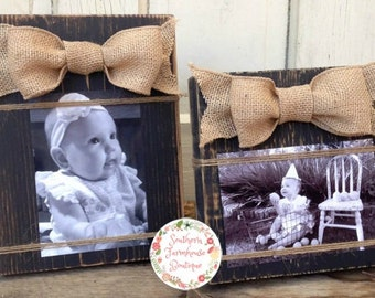 Set of 2 Wood Block Frames, 4 x 6, One Vertical and One Horizontal, Burlap Bow, Rustic Wood Frame
