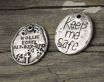 Keep Me Safe Pet Tag, Visible Faith, Hand Stamped, Pet Tag, Sterling Silver, Handmade