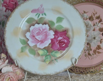 Cottage Chic Hand Painted Pink, Red Roses Porcelain Decorative Plate