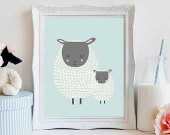 Nursery wall art, sheep nursery art, Nursery wall decor, nursery prints, nursery animals, sheep print, sheep art girl, sheep art boy