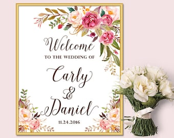 Wedding Welcome Sign, Bridal Shower Welcome Sign, Bohemian Boho Floral Welcome Sign