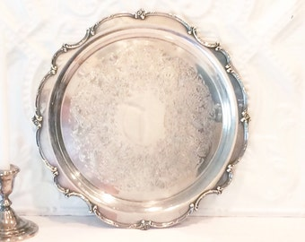 Large Vintage Silver Tray With Ornate Floral Trim