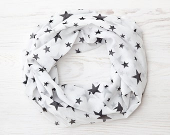 Summer party, White Scarf with Stars, Summer Scarf Womens Scarves Stars Print Infinity Scarf, Summer Outdoors, Valentine's Day Gift