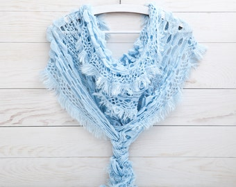 Sky Blue Lace Scarf, Summer Outdoors, Crochet cover up, Summer scarves, Mother's Day Gifts, Gift Ideas For Her, Summer party (011)