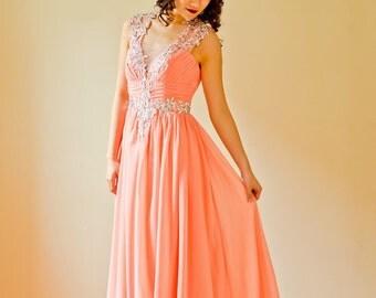 Long Pink Crystal Embellished Prom Homecoming Bridesmaid Dress Elegant Formal Dress