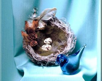 Decorative White Flocked Bird Nest with Ceramic Tern Eggs - 5 inches