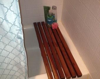 Wooden bench,bath tub bench,bath tub tray,bath tub caddy,rustic bath tub caddy,spa bath tray,rustic shelf,rack,rustic caddy,+ 2 light candle