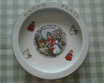 Antique Baby Feeding Dish, Little Bopeep with Friends Trenle China Co