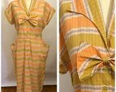 VINTAGE 1940s checkered pastel cotton day dress | plaid shirt dress | Size large