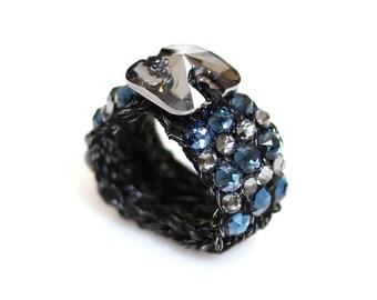Swarovski ring, Glamour ring, Knitted ring, bespoke ring, stretch ring, crochet ring, yarn ring, Blue crystal ring, women ring.