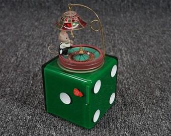 Vintage Enesco Mouse Roulette Table Music Box