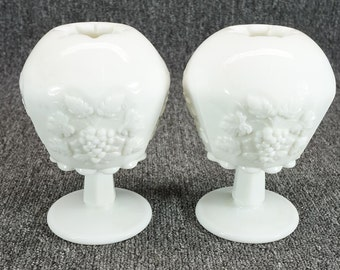 Vintage Westmoreland Glass Co. Milkglass Grape And Vine Rounded Vase Set Of 2