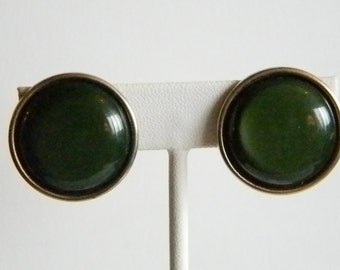 Shiny Green Button Clip Earrings with Bronze Color Trim