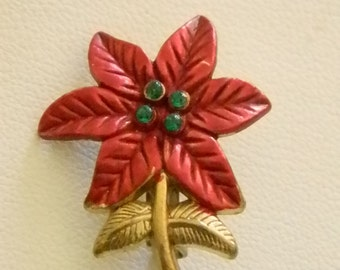 Small Holiday Christmas Poinsettia Red Green Rhinestone Pin Brooch