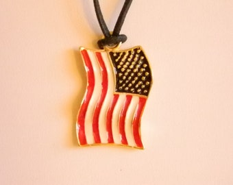 Gold Tone Red White Blue American Flag Patriotic Pendant Necklace
