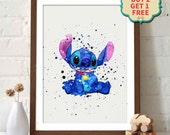Stitch Watercolor Poster